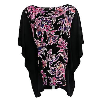Bob Mackie Women's Top Painterly Floral Front Caftan Black A310930