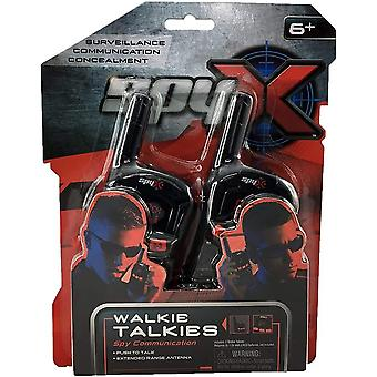 Spyx spy walkie talkies with belt clip, long range antenna. PTT button &