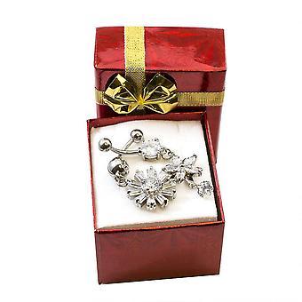 Paquet d'anneau de Nombril de conception de fleur et de flocon de neige avec multiple cz clair 14g