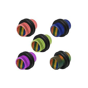 Pair of rainbow logo acrylic ear plugs - 5 colors available
