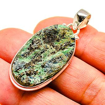 "Green Fuchsite Crystal 925 Sterling Silver Pendant 1 3/4""  - Handmade Boho Vintage Jewelry PD741665"