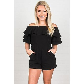 Off Shoulder Ruffled Détail Short Sleeve Playsuit