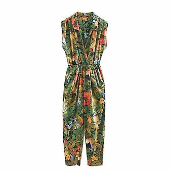 Women Tropical Flower Leaves Print Siamese Rompers Ladies Sleeveless Jumpsuits