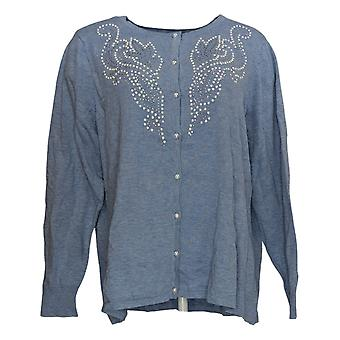 Bob Mackie Women's Sweater Pearl Embellished Cardigan Blue A344976