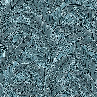 Pear Tree Tropical Leaf Blue