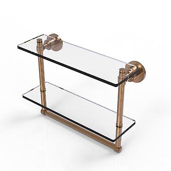 Washington Square Collection Ripiano in vetro a due livelli da 16 pollici con barra asciugamani integrata - Ws-2Tb/16-Bbr