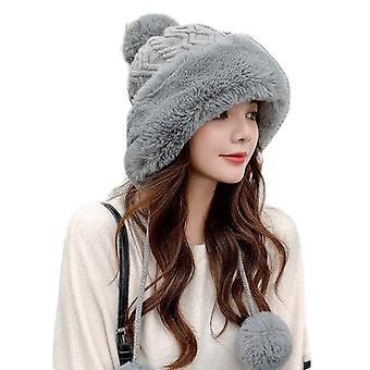Thick Female Fluffy Pompom Windproof Earflap Trapper Snow Ski Caps
