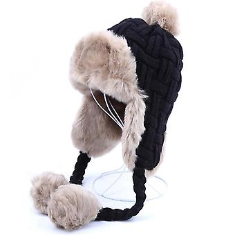 Winter Warm Faux Fox Fur Bomber Hat Beanies Russian Ushanka Wool Knit Ear