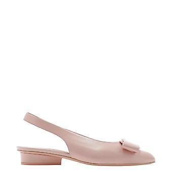 Salvatore Ferragamo 741097 Women's Pink Leather Flats
