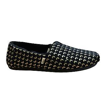 Toms Classic Black Geo Metallic Woven Slip On Womens Espadrille Shoes 10013067