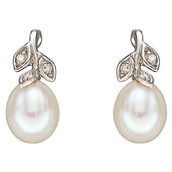 Elementen Gold Pearl en Dimond Leaf Design Oorbellen - Wit goud