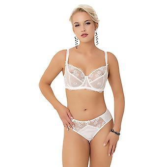 Nessa Telma Women's White Embroidered Non-Padded Underwired Full Cup Bra