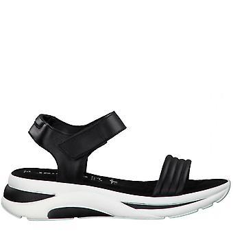 Schwarze flache Sandalen
