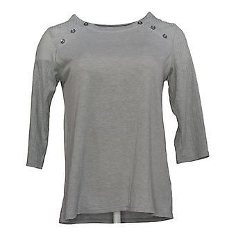 Cuddl Duds Women's Petite Top 3/4 Sleeve T-shirt met Button Details Grijs
