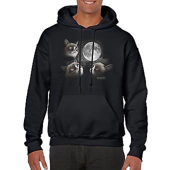 Grumpy Cat 3 Moon Men's Black Hoodie