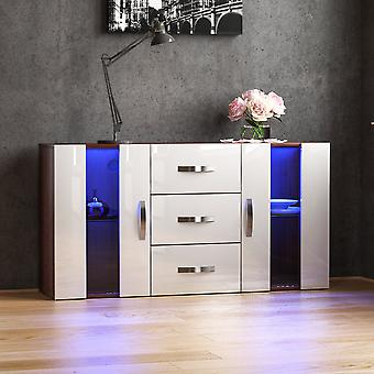 Astro 2 Door 3 Drawer LED Sideboard High Gloss Cabinet, Walnut & White