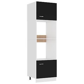 Microwave Cabinet Black 60x57x207 Cm Chipboard