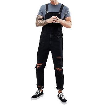 YANGFAN Men's Ripped Denim Distressed Overalls Solid Color Jumpsuit Jeans