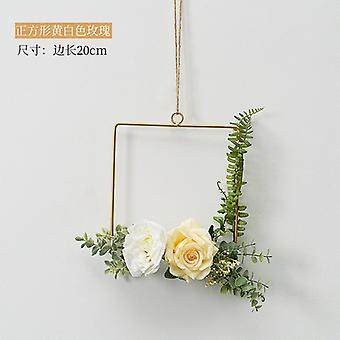 Cilected Nordic Ins Iron Wreath Romantic Wedding Square Garland Wall Hanging Simulation Flower Pendant Home Decoration