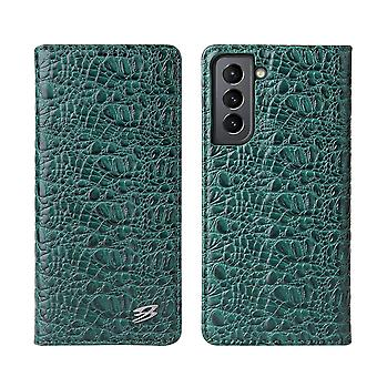 Pour Samsung Galaxy S21 Cas Crocodile Pattern Genuine Cow Leather Cover Green