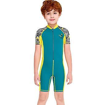 الأطفال wetsuit طويلة الأكمام قطعة واحدة الأشعة فوق البنفسجية حماية ملابس السباحة الحرارية dfse-7