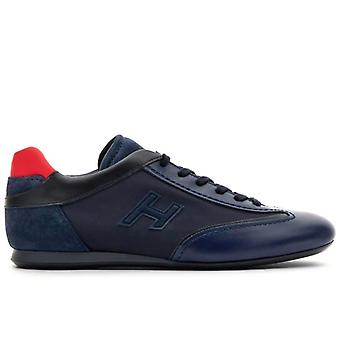Sneaker Homme Hogan Olympia Bleu Et Rouge En Cuir Et Tissu