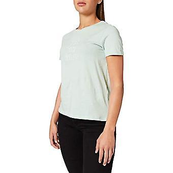Springfield Camiseta Texto Bordado T-Shirt, Green, L Woman