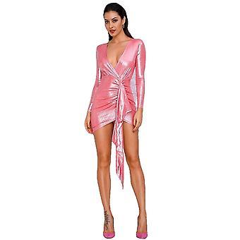Sexy rosa profundo cuello en V plisado cinta espumosa tela brillante que sale vestido reflectante para las mujeres