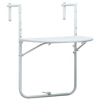 Tavolo balcone appeso 60x64x83.5 cm Rattan-Look Bianco plastico
