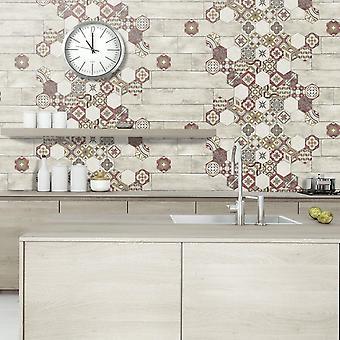 Muriva Tiles and wood Vinyl Wallpaper