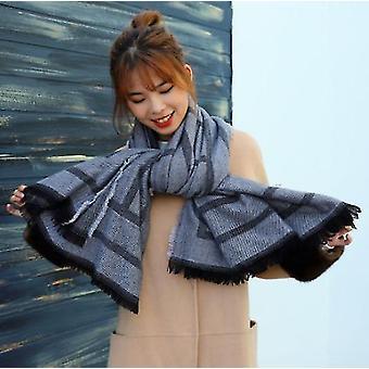 Letter Classic Scarf Geometric Tassel Winter Ladies Cashmere Warm Shawl Scarf(Black)
