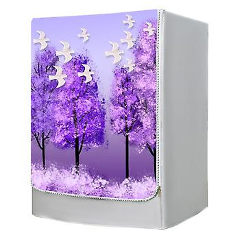 Safety Cover For Front Open Drum Dryer Purple Tree Pattern