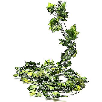 Pack Of 12, Faux Ivy, 84ft, Realistic Silk Ivy Leaves With Plastic Stems, Green Sprigs