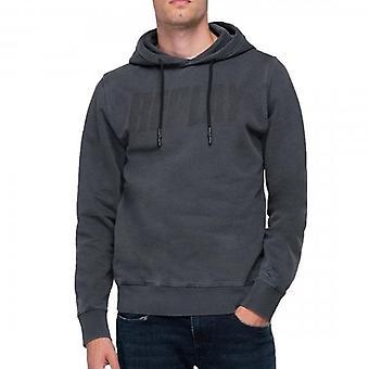 Replay Logo Hoody Sweatshirt Washed Navy M3524