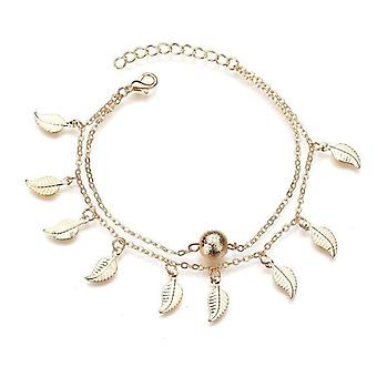 7 Pcs Vintage Tassels Leaves Anklets Alloy Round Bead Double Layer Women Anklet