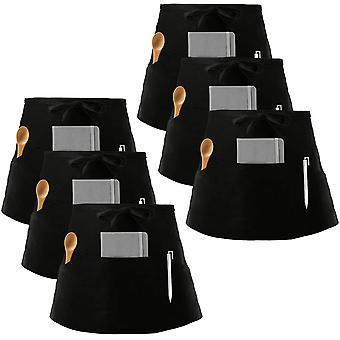 6 Packs waist apron, black waiter waitress aprons with 3 pockets bistro restaurant gardening half apron for men and women (black, cotton)