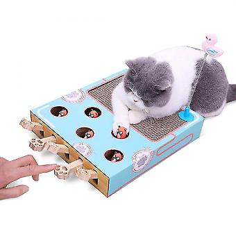 Cat Hunt Toy With Scratcher Catch Mouse Game Wooden Interactive Maze