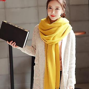 Women's Warm Shawl Winter Warm Large Scarf Pure Color Cashmere Scarf Ginger