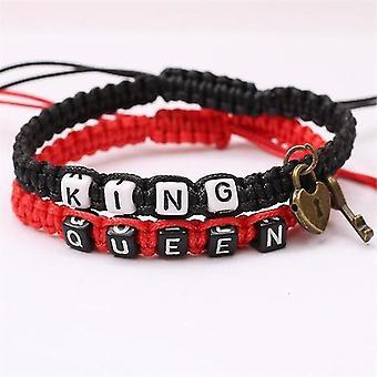Egy pár romantikus gesztus karkötő felvázoló király és királynő témák (Piros)