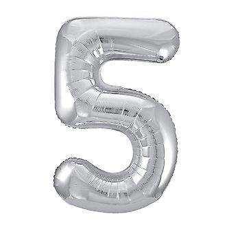 "Unique Party  53825  - 34"" Giant Silver Foil Number 5 Balloon"