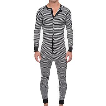 Férfi csíkos hosszú ujjú egy darab Jumpsuit hálóruha pizsama