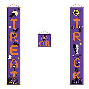 Halloween-herkku temppu oven roikkuva merkki Banner Party Home Sisustus