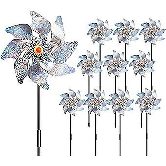 10 Pcs Bird Blinder Repellent Pinwheels Reflective, Pinwheel Birds Deterrent Hanging Device Sparkly Silver Spinners To Keep Birds Away From Your House