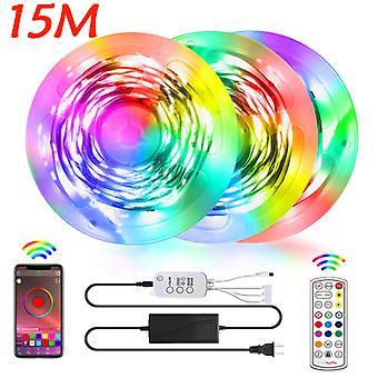 Led Strip Lights 15m Led Rgb Light Strip Muziek Sync 5050 Kleur veranderende Bt Controller 24 Key Remote