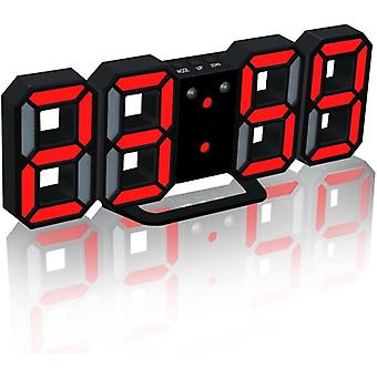 Electronic Led Digital Alarm Clock , Clock Can Adjust The Led Brightness Automatically In Night (black/red)
