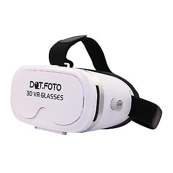 Dot.Foto VR Box 3D Virtual Reality Video Glasses 90 degree FOV Headset Cardboard for 3.5-5.5 inch Iphone, Samsung, Sony, LG, Google, HTC, Moto Smartphones - (White)