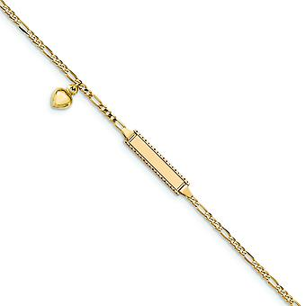 14k Yellow Gold Dangle Polished Engravable Lobster Claw Closure 6 Inch Figaro Dangling Love Heart for boys or girls ID B