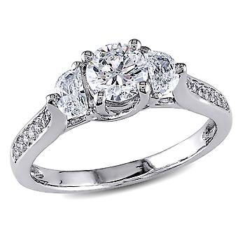 1.00 Carat (ctw G-H, I1-I2) Three Stone Diamond Engagement Ring in 14K White Gold