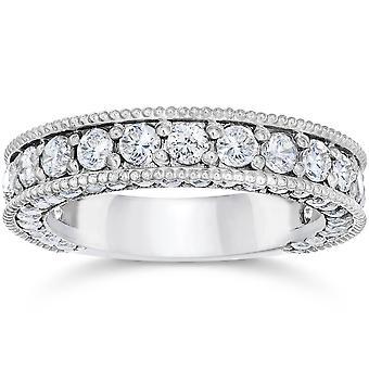 2 1/8 Carat Vintage Diamond Wedding Ring 14K White Gold