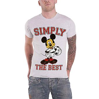 Officiel Homme Mickey Mouse T Shirt Tout simplement le meilleur logo de football Heather Grey